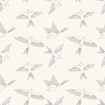 Vintage seamless pattern with little swallows.  cute illustration