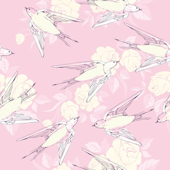 Vintage seamless pattern with little swallows