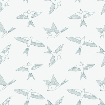 Vintage seamless pattern with little swallows.