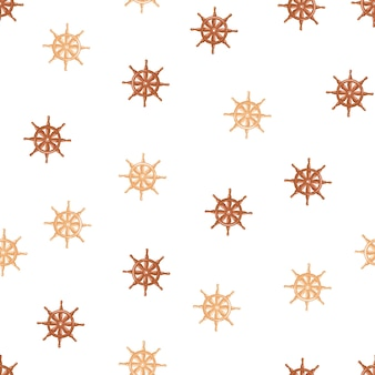 Vintage seamless pattern with orange and brown ship helm ornament. white background. isolated backdrop.