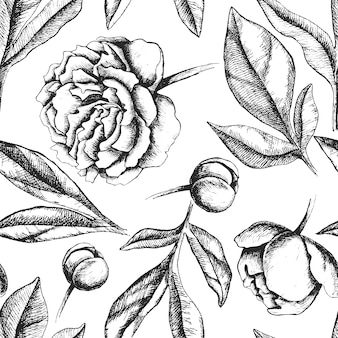 Vintage seamless pattern with peony flowers.