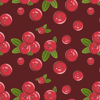 Vintage seamless pattern with red cranberries.