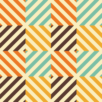 Vintage seamless pattern with rhombus and diagonal lines.