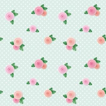 水玉模様のバラのヴィンテージシームレスパターン。