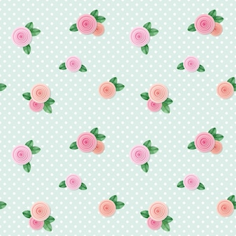 Vintage seamless pattern with roses on polka dots.