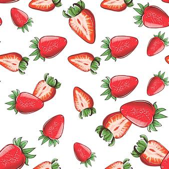 イチゴとヴィンテージのシームレスなパターン。