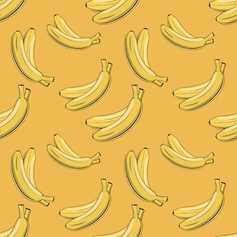 Vintage seamless pattern with yellow bananas.