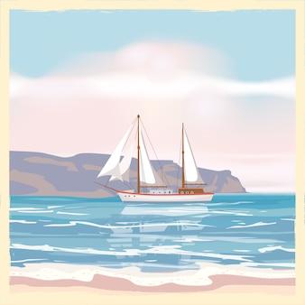 Старинный приморский летний вид плаката. морской пейзаж, корабль, цветы