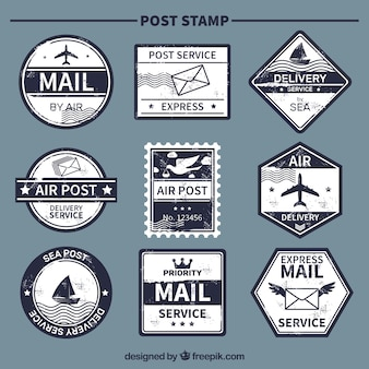 Vintage selection of blue post stamps