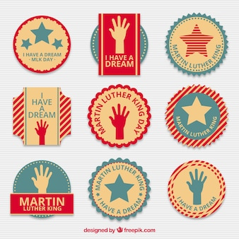 Vintage selection of flat badges for martin luther king day