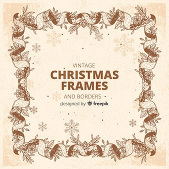 vintage sepia christmas frame