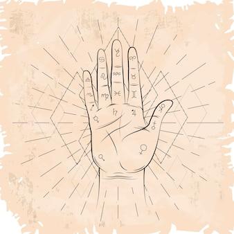 빈티지 세피아 종이 및 palmistry 표시