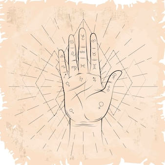 Vintage sepia paper and palmistry signs