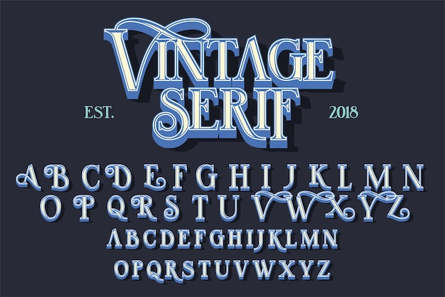 Vintage serif lettering font. retro typeface with decorative elements