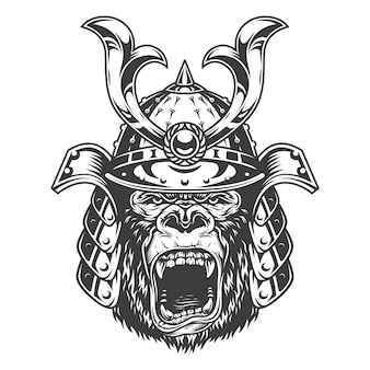 Vintage serious gorilla warrior in samurai helmet in monochrome style   illustration