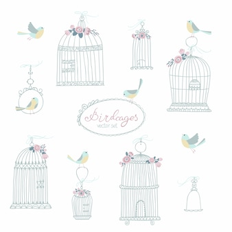 Vintage set for decorative bird cages. decorated with flowers. sitting and flying birds. illustration in free hand drawn style in pastel colors