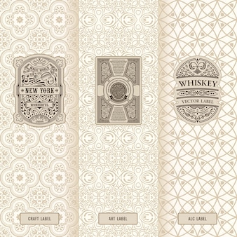 Vintage set of design labels logos and luxury packaging frames