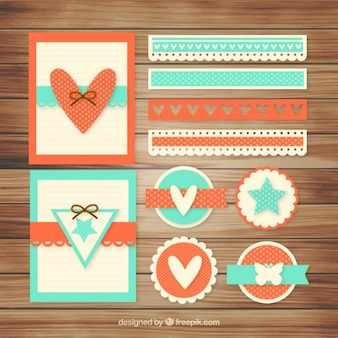 Vintage set of lovely scrapbooking elements