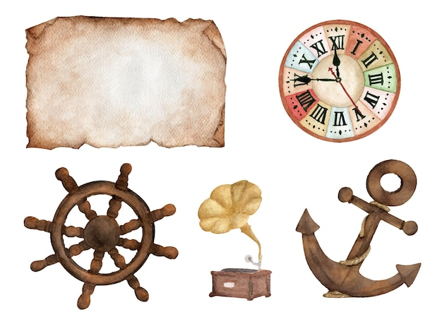 Винтажный набор. старая бумага, часы, штурвал лодки, патефон и якорь. акварельная иллюстрация.