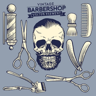 Vintage set of skull barbershop concept