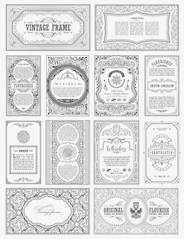 빈티지 세트 템플릿 카드 붓글씨 프레임 및 디자인 레이블