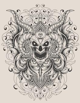 Винтажный стиль орнамента с семью числами