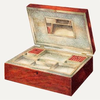 Illustrazione vettoriale di scatola da cucito vintage, remixata dall'opera d'arte di george v. vezolles