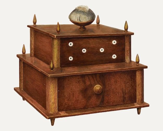 Vettore dell'illustrazione dell'armadio da cucito vintage, remixato dall'opera d'arte di robert a. young