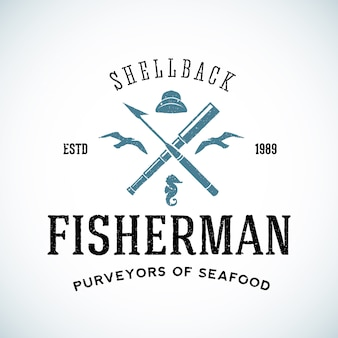 Vintage shell back fisherman logo template with shabby texture.