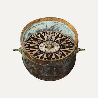マグナスs.フォッサムのアートワークからリミックスされたヴィンテージ船のコンパスイラストベクトル 無料ベクター