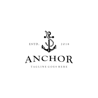 Vintage ship anchor symbol rustic logo design