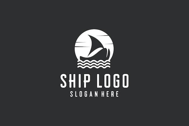 Vintage ship logo design icon vector