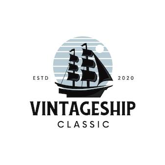Винтажный дизайн логотипа корабля