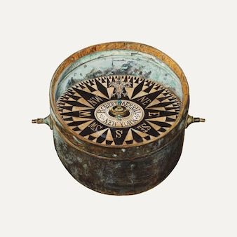 Vintage ship's compass illustration vector, remixed from the artwork by magnus s. fossum