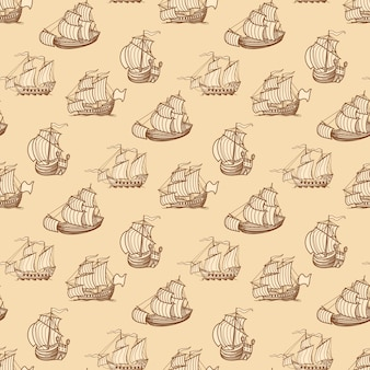 Vintage ships seamless pattern.