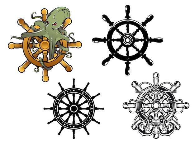 Рулевые колеса старинных кораблей с осьминогом и якорями, иллюстрация