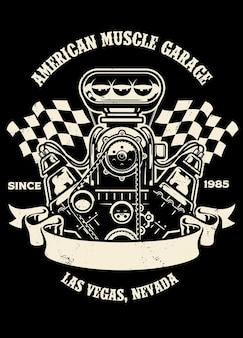 Винтажный дизайн рубашки американского двигателя маслкара