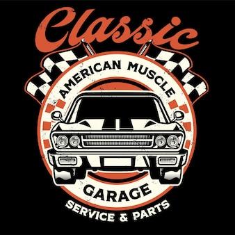 Дизайн винтажной рубашки американского мускульного гаража