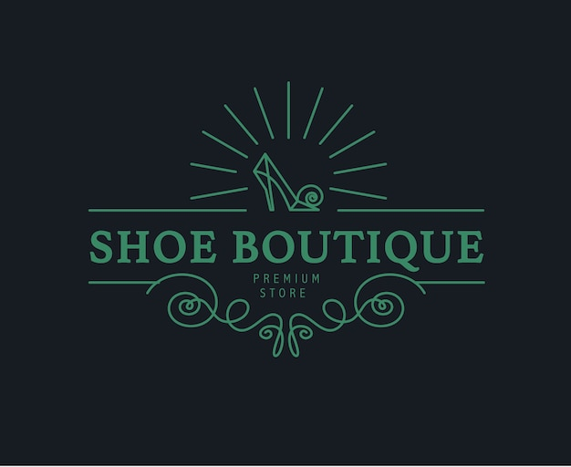 Vintage shoe store, shop logo  . monogram element. shoe icon. premium foot wear boutique brand mark.