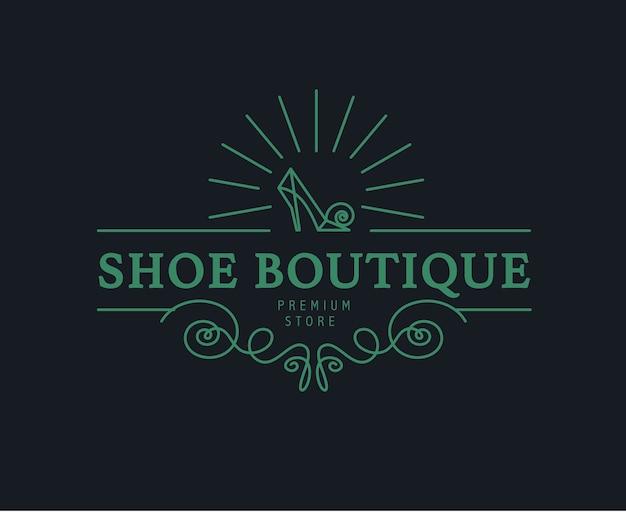 ヴィンテージの靴屋、ショップのロゴ。モノグラム要素。靴のアイコン。プレミアムフットウェアブティックブランドマーク。