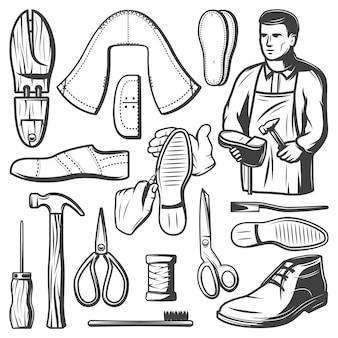 Набор старинных обувных элементов с сапожником, ремонтирующим ботинок, молоток, катушка с ниткой, ножницы, шило, кожаные куски, изолированные