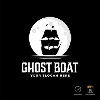 Vintage silhouette sailboat logo design