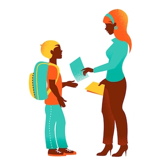 Vintage silhouette of teacher and student. back to school illustration