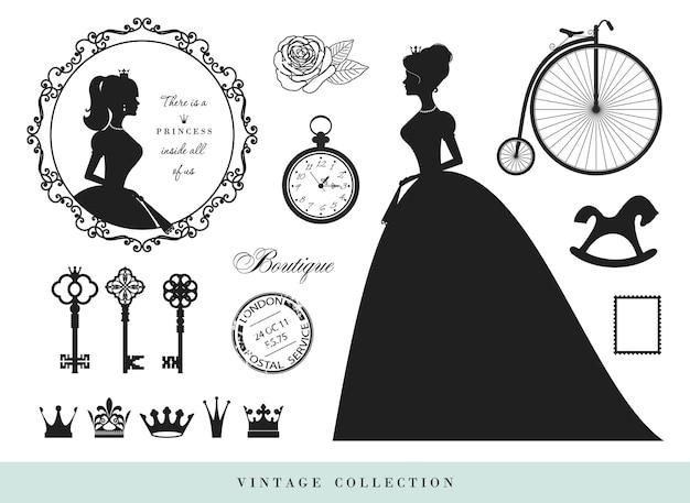 Vintage silhouettes set.