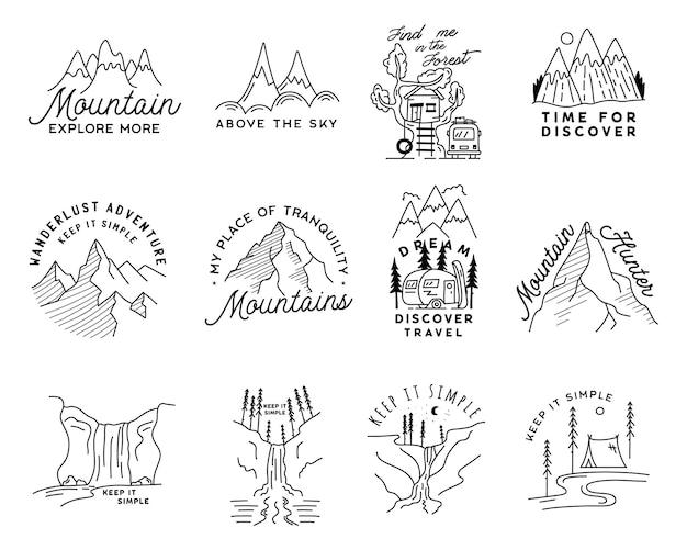 Набор старинных простых логотипов лагеря. приключенческие линейные арт-сцены на открытом воздухе, набор туристических пейзажей. линейная концепция силуэта. значки векторного вектора.
