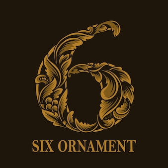 Винтажный стиль орнамента с шестью числами