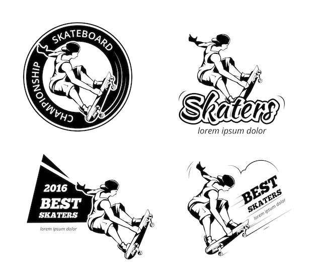 ヴィンテージスケートボードのラベル、ロゴ、バッジのベクトルを設定します。スケートボードのエンブレム、極端な都市のイラスト