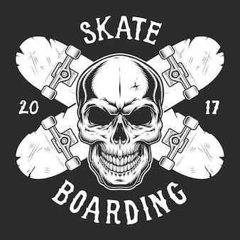Modello di logotipo vintage skateboard
