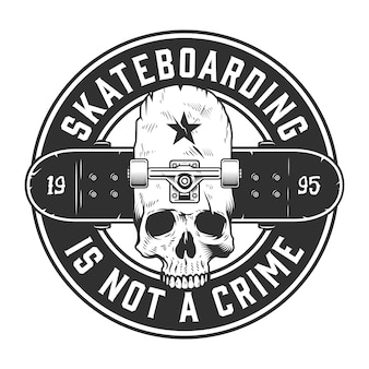 Vintage skateboarding monochrome label