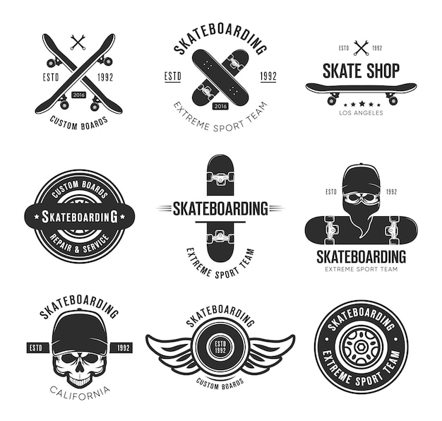 Vintage skateboarding tattoo flat emblems set. black monochrome labels or signs with skateboard and skull vector illustration collection. summer, extreme sport and lifestyle